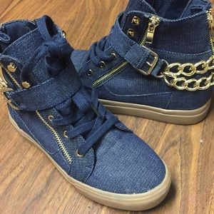 JustFab Shoes - Mid top blue jean shoes
